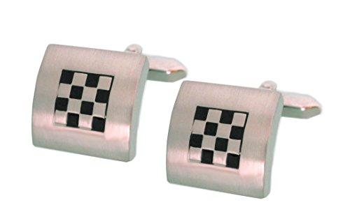Unbekannt quadratische Manschettenknöpfe Schachbrett Design silbern mit schwarzer Lackeinlage + Silberbox