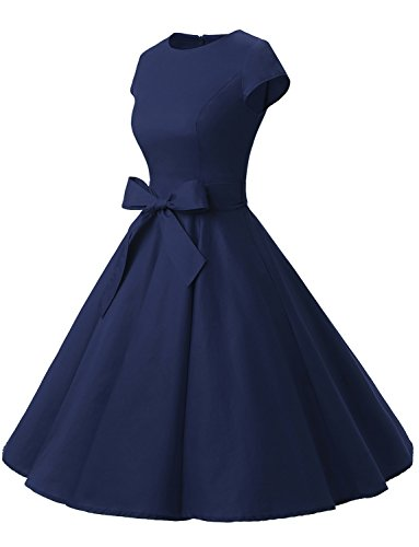 Dressystar Damen Vintage 50er Cap Sleeves Dot Einfarbig Rockabilly Swing Kleider M Marineblau - 2