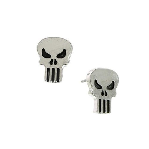 Marvel Comics Punisher Skull tono argento Tagliare Orecchini 2056