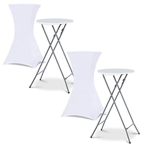 IDMarket - Lot de 2 Tables Hautes Pliantes + 2 Housses Blanches