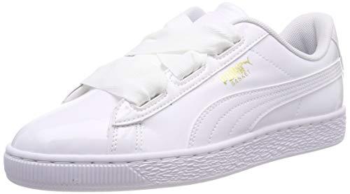 Puma Unisex-Kinder Basket Heart Patent Jr Sneaker Weiß White Black-Prism PINK-Gold, 35.5 EU