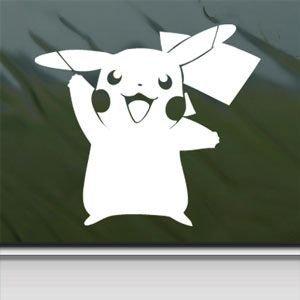 sabaisabaishop 1x Pokemon White Sticker Decal Pikachu Card Game White Car Window Wall MacBook Notebook Laptop Sticker Decal by by