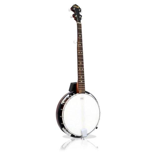 Pyle Banjo mit 5 Saiten, verchromte Teile, Braun