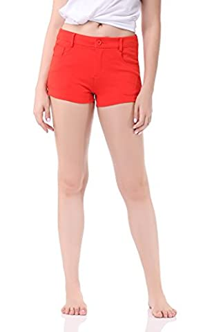 Pau1Hami1ton GP-02 Femme Bermuda Shorts Solid Summer Color Stretch Fitted Relaxed Flat Hot Walking Pants(M,Orange)