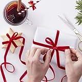 Ginger Ray Red Velvet Present Wrap Luxury Ribbon x 10metres - Red & Gold