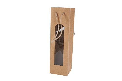 Bolsa para Botella de Vino Kraft con Ventana - Bolsas para Vino Baratas, Originales, Bonitas de Papel, Cartón, Marrones, Kraft. Originales Bolsas Ofertas comprar Online para Bodas, Botellas Vinos