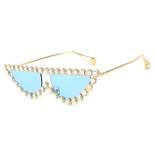 Z&HA Cat Eye Sonnenbrille Kristall dekorative Brille Dreieck Brille Metallrahmen UV400 Farbe Linse,06