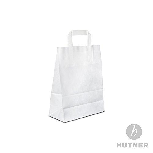 250 x HUTNER Papiertüten weiss 18+08x22 cm | stabile Papiertragetaschen mit Flachhenkel | Papiertaschen klein, Tragetaschen aus Papier 18x08x22