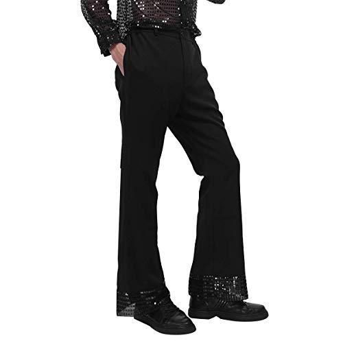 inhzoy Herren Pailletten Manschetten Disco Dude Kostüm Retro 70er Jahre Disco Hose Tanz Lange Hose Glöckchen Hose - Schwarz - (Retro Tanz Kostüme Für Männer)