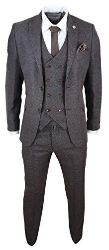TruClothing.com Herrenanzug 3 Teilig Tweed Design Peaky Blinders 1920 Stil Wollenanteil - braun 56EU/46UK Sakko- 40