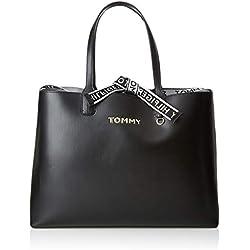 Tommy Hilfiger - Iconic Tote, Bolsos totes Mujer, Negro (Black), 13x30.5x43 cm (B x H T)