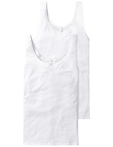 Schiesser Damen Unterhemd Trägertop, 2er Pack, Gr. 42, Weiß (weiss 100)
