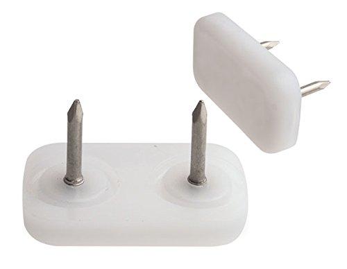 24 Stück Kunststoff Möbelgleiter 30 x 18 zum Nageln, weiß