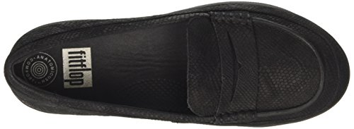 Fitflop Fsporty TM Penny, Mocassini Donna Nero (Black Snake Embossed)