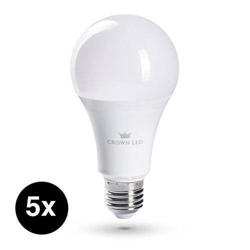 CROWN LED Lampen | 5 Stück | E27 | 13W | Ersatz für 100W | Warmweiß | 230V | 230° Abstrahlwinkel | CR05 (5 Runde Stück Sockel)