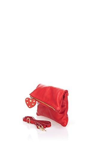 Guay Laura Moretti - Borsa in pelle con il cuore pom pom (stile FRIZIONE) Rosso Salida De La Nueva Llegada El Envío Libre De Manchester Gran Venta y5OfuVKPN