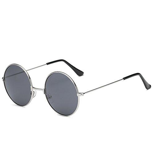 SUNGLASSES Vintage Runde Sonnenbrille Bunte helle Sonnenbrille für Männer und Frauen (Farbe : Silver Frame Black Gray Film)