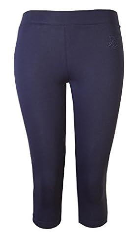 Womens Leggings Ladies Crop Capri Pants Brody & Co 3/4 Gym Cropped Leggins Dance Yoga (L/XL, Navy