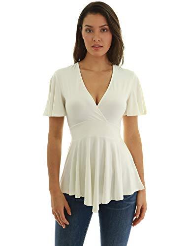 Empire-taille-shirt (PattyBoutik Damen Empire-Taille und Flare-Bluse (Elfenbein XL 46))