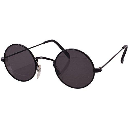 TE-Trend 70er Hippie Karneval Brille rund schwarz Kostüm Zubehör Partybrille Flower Power Lennon Osborne
