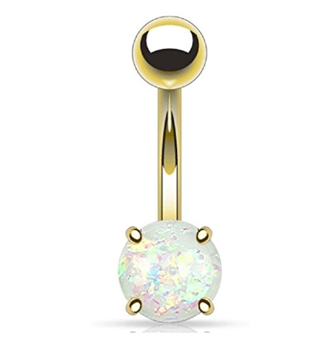 Gekko Body Jewellery White Opal Glitter Prong Set Gold Plated Over Surgical Steel Belly Bar Navel Rings 1.6mm x 10mm