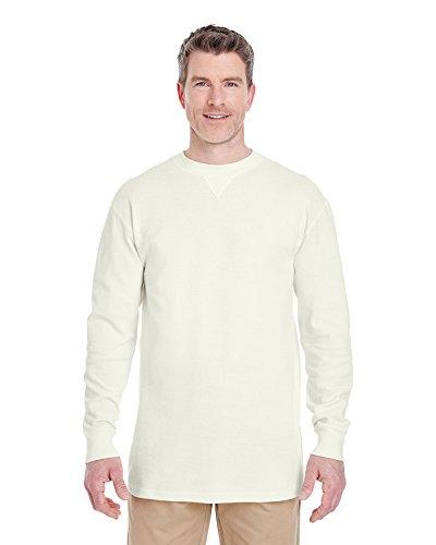UltraClub Mens Mini Thermal Cotton Crew Neck (8455) -Off White -L - Mens Crew Neck Thermal