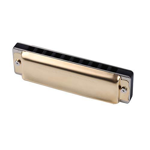 KPPTO Mundharmonika, 10-Loch-Blues-Mundharmonika Mundharmonika, 10-Loch-C-Mundharmonika, als Geschenk geeignet (Gold) Beautiful Life ( Color : Gold )