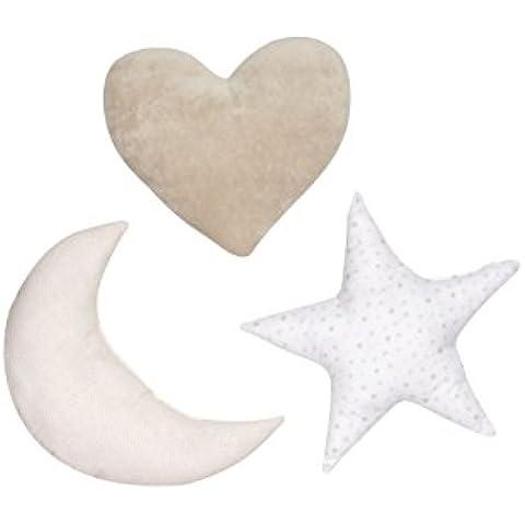 Praia Otto / Piu Piu - Pack de cojines, 3 piezas: corazón, luna y estrella, color beige / blanco