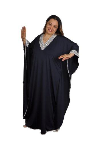 Eleganter Damen Kaftan - Kleid im Butterfly Look , Sommer - Urlaub - Hauskleid - , dunkelblau /silber (Einheitsgröße: 4XL bis 5XL) (Butterfly-kaftan)