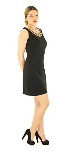 #927 robe de soirée pour femme avec strass design sans col noir/blanc/kaki foncé) Noir - Noir