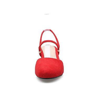 Zhenfu Mujeres Comfort Sandalias Cuero Sintético Primavera Verano Casual Chunky Heel Army Rojo Verde Amarillo Negro 2a-2 3 / 4in Negro