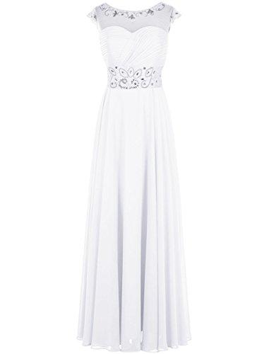 Dresstells Damen Bodenlang Jugendlich Brautjungfernkleider Abendkleider Weiß