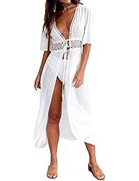 ee9388bae7b Carolilly Cache Maillot Femme Robe de Plage Longue Ajourée Manches 1 2  Blouse Bikini en