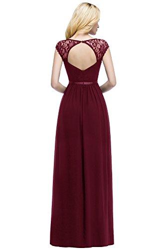 MisShow Damen Elegant Abendkleider Chffon Abiballkleid Rückenfrei Maxi Größe 46