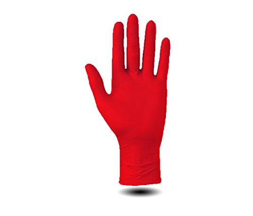 Nitrilhandschuhe 200 Stück Einweghandschuhe, Einmalhandschuhe, Untersuchungshandschuhe, Nitril Handschuhe, puderfrei, unsteril, latexfrei, puderfreie und unsterile Kochhandschuhe Tätowierhandschuhe Tattoo Handschuhe (rot, M)