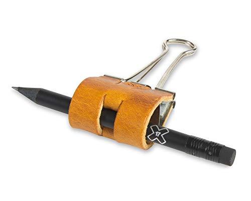 X17-Sloop (Foldback-Klammer, Stiftklemme-Stiftlasche, Pen-Loop, Stifthalter) mit Leder veredelt; Breite: 40mm Leder Natur (vegetabil gegerbt) cognac -
