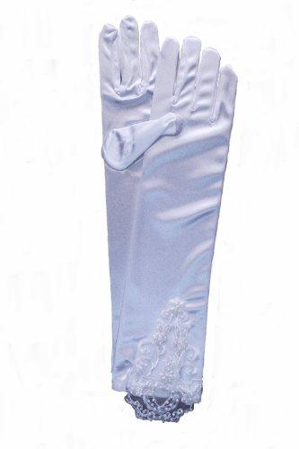 Gants longs de mariée élégante en satin avec dentelle & perles blanc ou noir Blanc - blanc