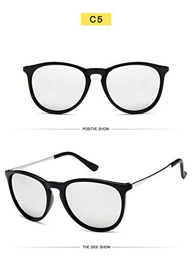 DYFDHA Sonnenbrillen Vintage Retro Mirror Erika Sunglasses Women Brand Designer Cat Eye Sun Glasses Leopard Protection Mirrored 4171 silver