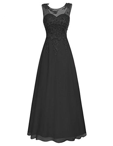 Elegante Kleider 2018 Festkleid Damen Schwarz Brautjungfernkleider Lang ärmelloses Kleid 32 CL670-1