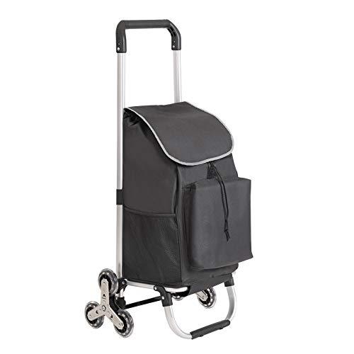 SONGMICS Einkaufstrolley, faltbarer Einkaufswagen, mit Treppensteiger, Kühlfach und 6 Rollen, bis 30 kg belastbar, schwarz KST05BK
