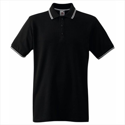 Fruit of the Loom - Kontrast Poloshirt 'Tipped Polo' Black/White
