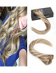 Sunny * highlight clip extension - bionda dorato con cenere scuro scu biondo - extension capelli veri clip - highlights biondo 16pollice/40cm 9pcs/140g