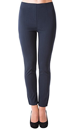Danaest Damen Stretch Hose gerades Bein (491), Grösse:M, Farbe:Dunkelblau