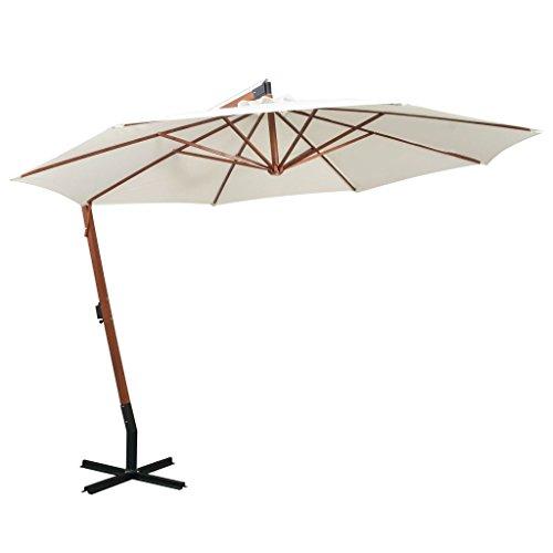 tidyard Sonnenschirm Ampelschirm Gartenschirm Freiarm Sonnenschutz Schirm Holzmast mit Kurbelmechanismus Stahl-Fußkreuz 350 cm Weiß