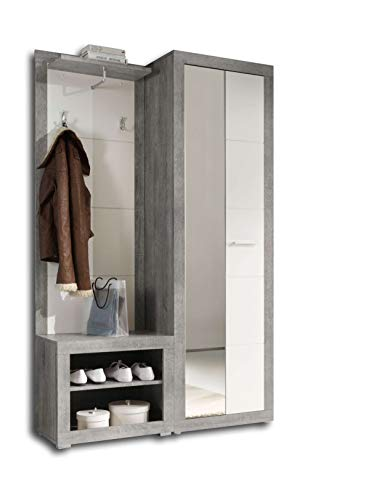 Avanti Trendstore - Solaika - Komplett Garderobe aus Holzdekor, Farbe Beton/weiß Glanz. Maße: BHT...