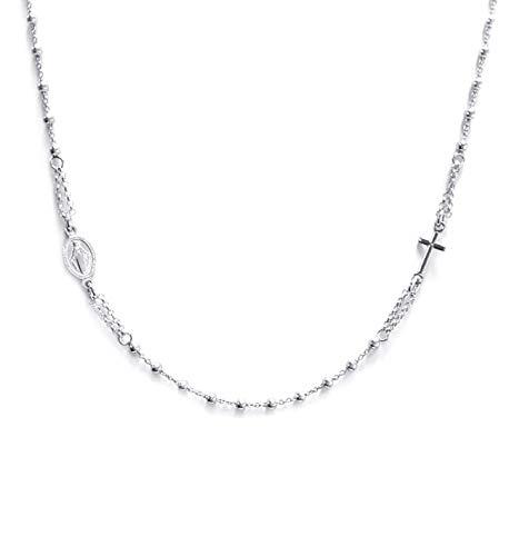 Collar rosario gargantilla de Plata 925 - Cruz y Medalla de la Virgen - Linea Italia joyas Made in Italy