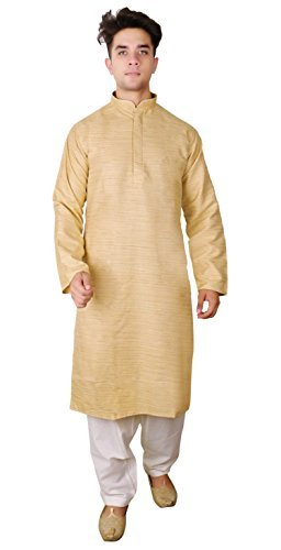 Herren Indian Rohseide Kurta Salwar Kameez Sherwani Bollywood Party Pyjama 1809 - Leichte Gold, 48 (XXXXL - UK) (Kameez Hose)