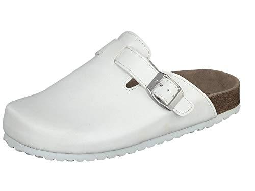 Supersoft Unisex Schuhe Arzt Clogs Pantoletten Hausschuhe Lederfußbett White (41 EU)