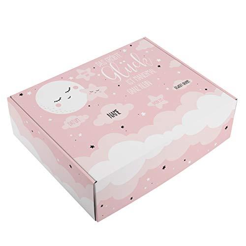 Striefchen® Erinnerungsbox zur Geburt - mit Ihren Namen und Daten des Kindes bedruckt Rosa - Mond