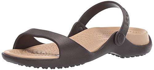 Crocs Cleo, Sandalias de Punta Descubierta para Mujer, Marrón Espresso/Gold 23q, 36/37 EU
